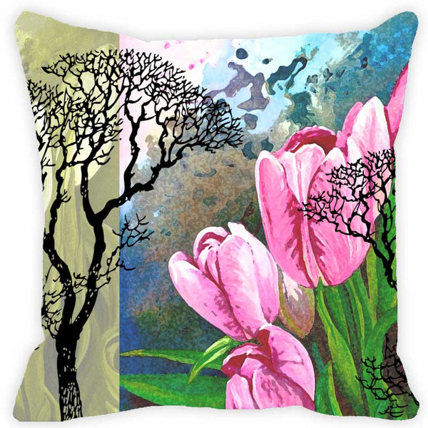 Leaf Designs Multi Floral & Tree Cushion Cover