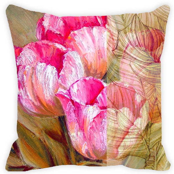 Leaf Designs Pink & Green Floral Cushion Cover