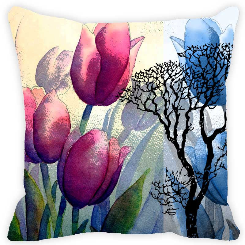 Leaf Designs Blue & Pink Floral (B) - Set of 2 Cushion Covers