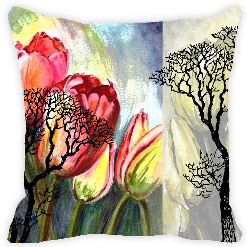 Leaf Designs Red & Yellow Floral Cushion Cover