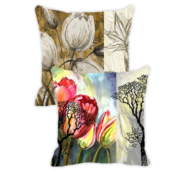 Leaf Designs Blue & Khaki Floral - Set of 2 Cushion Covers