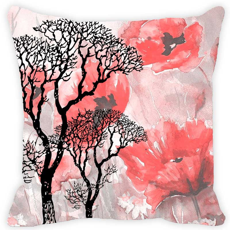 Leaf Designs Tree & Red Tones Floral - Set of 2 Cushion Covers
