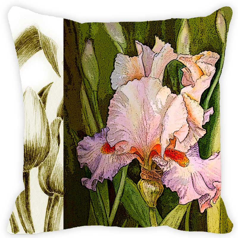 Leaf Designs Khaki & Green Floral Cushion Cover