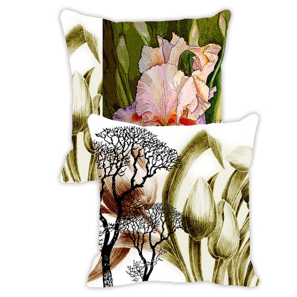 Leaf Designs Khaki & Green Floral - Set of 2 Cushion Covers