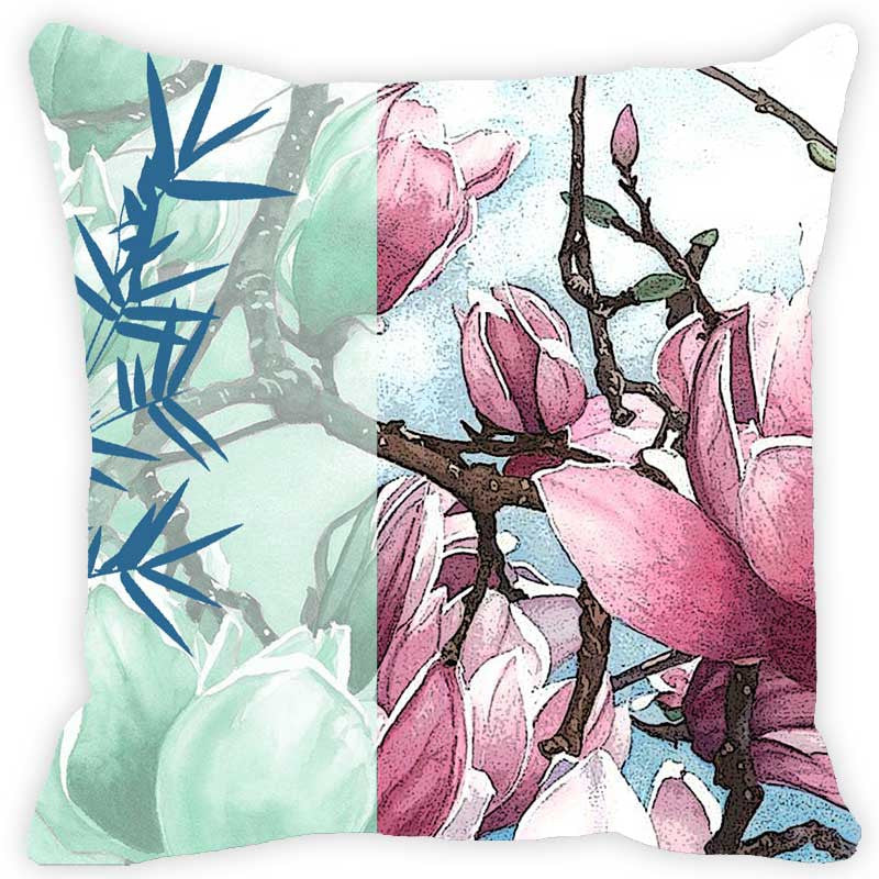 Leaf Designs Light Pink & Blue Floral Cushion Cover