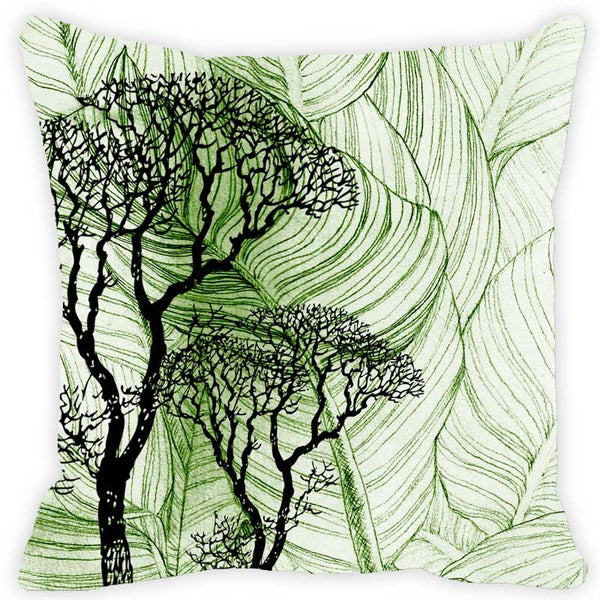 Leaf Designs Dark Green Floral Cushion Cover