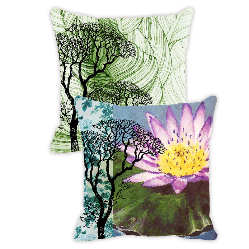Leaf Designs Purple & Green Tones Floral - Set of 2 Cushion Covers
