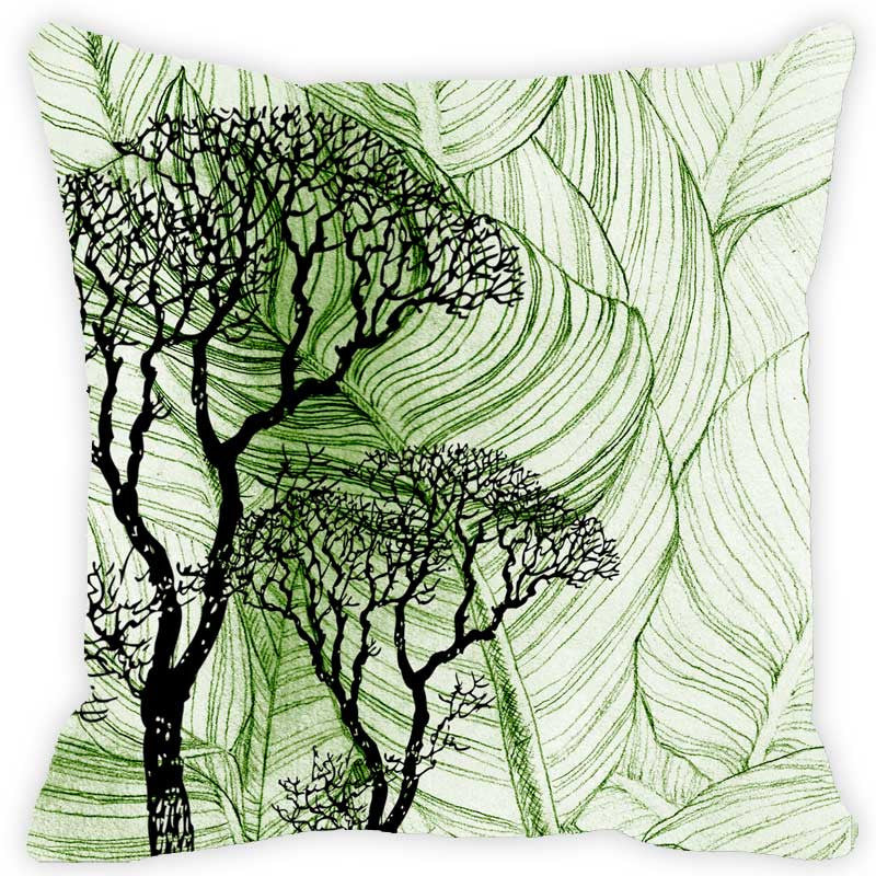 Leaf Designs Dark Green & Blue Floral - Set of 2 Cushion Covers