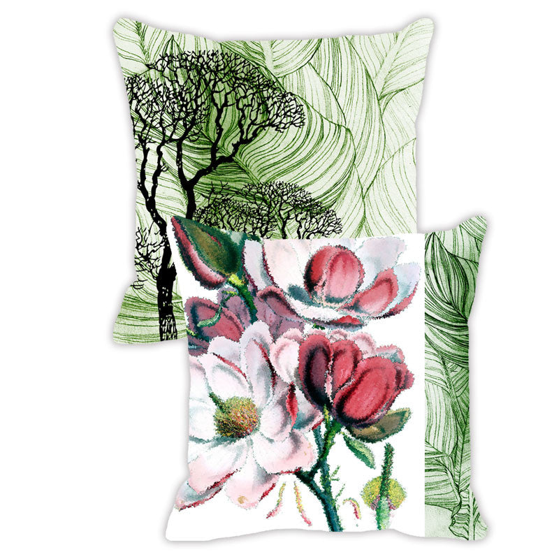 Leaf Designs Green Tones & Red Floral - Set of 2 Cushion Covers
