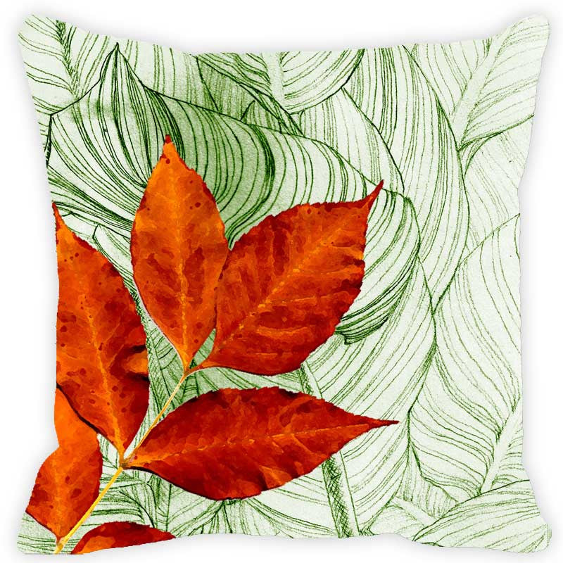 Leaf Designs Green & Red Floral Cushion Cover