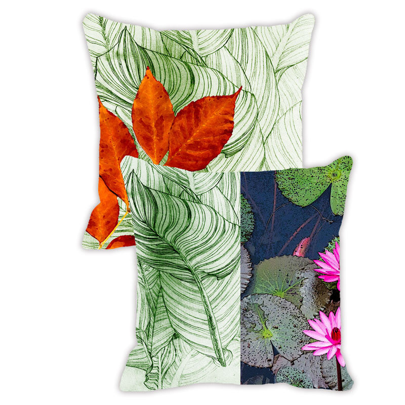 Leaf Designs Dark Blue & Red Floral - Set of 2 Cushion Covers
