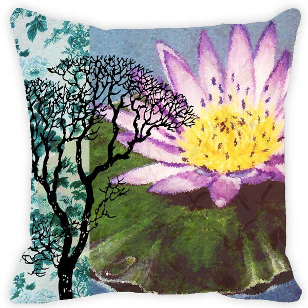 Leaf Designs Pink Floral & Tree Cushion Cover