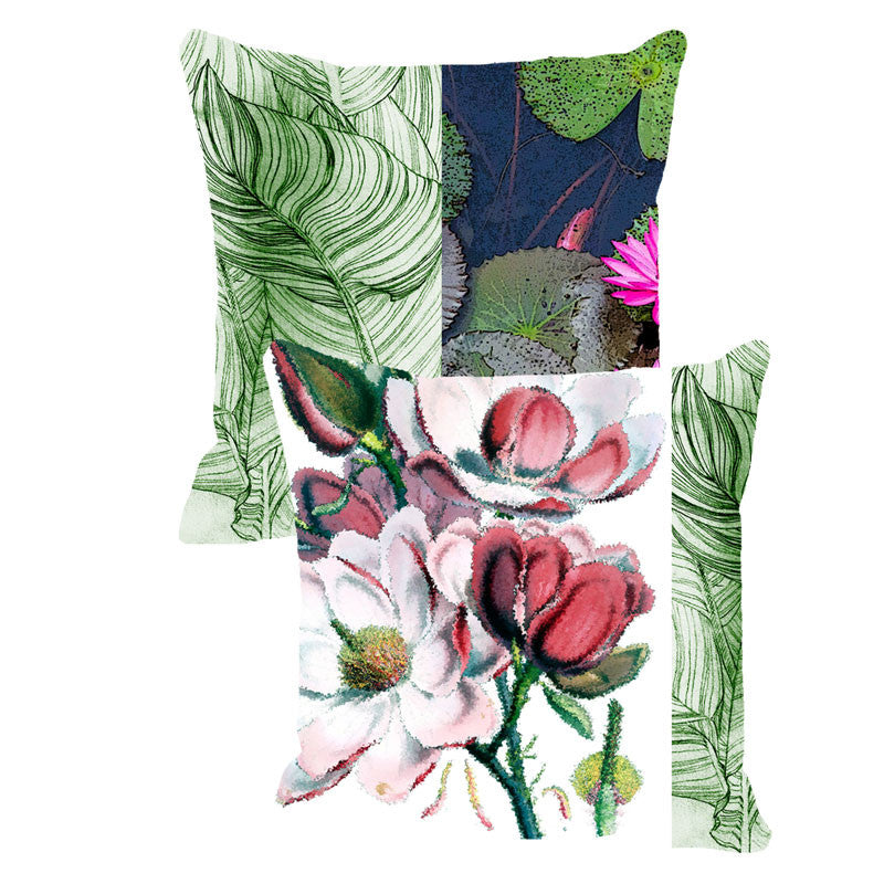 Leaf Designs Dark Green & Red Floral (B) - Set of 2 Cushion Covers