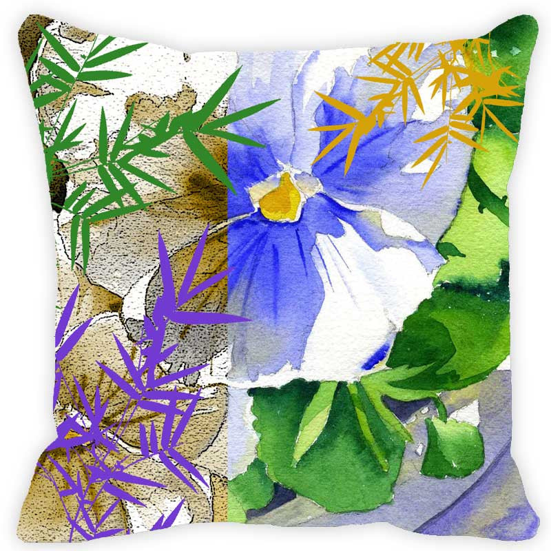 Leaf Designs Bright Blue & Green Floral Cushion Cover