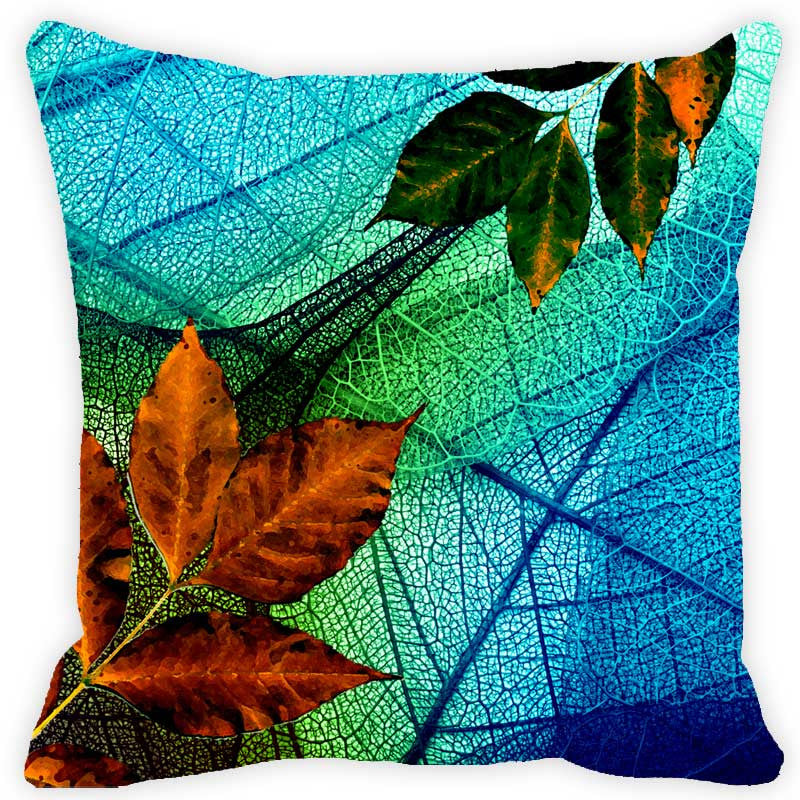 Leaf Designs Dark Blue & Orange Floral - Set of 2 Cushion Covers