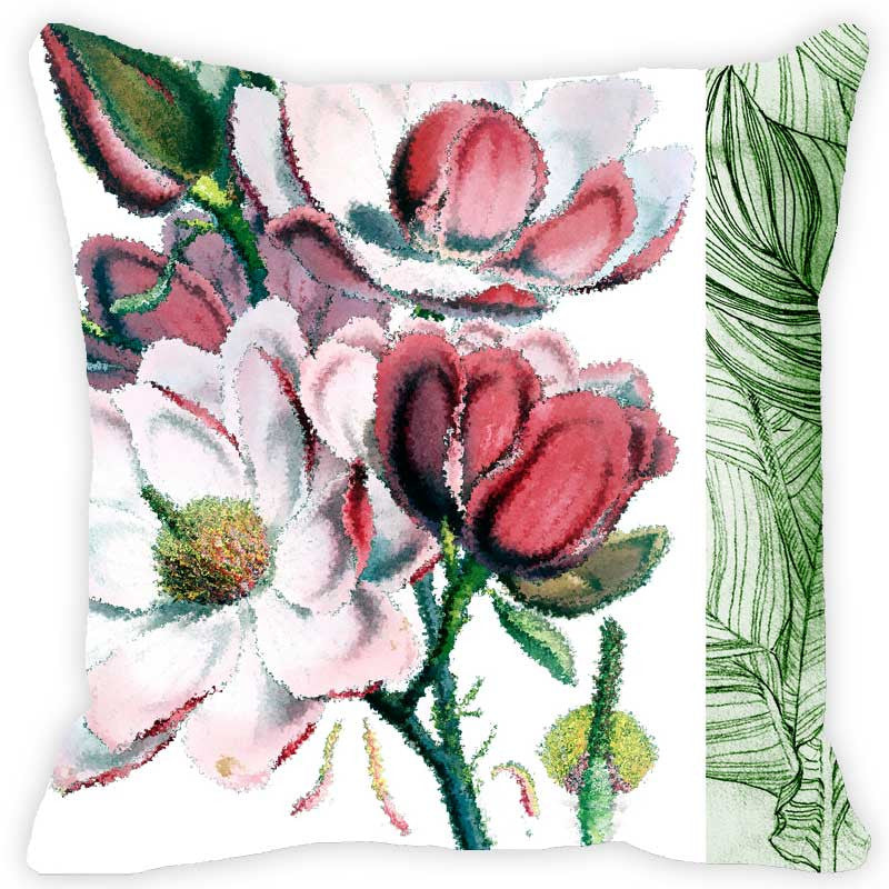 Leaf Designs Red Tones Floral - Set of 2 Cushion Covers