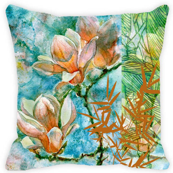 Leaf Designs Bright Blue & Orange Floral Cushion Cover