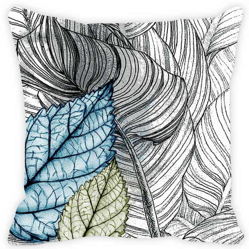 Leaf Designs Blue & Orange Leaves - Set of 2 Cushion Covers
