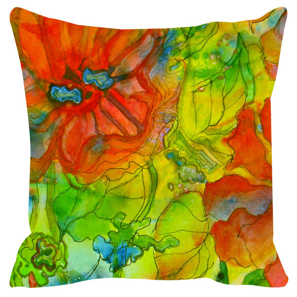 Leaf Designs Orange & Green Cushion Cover