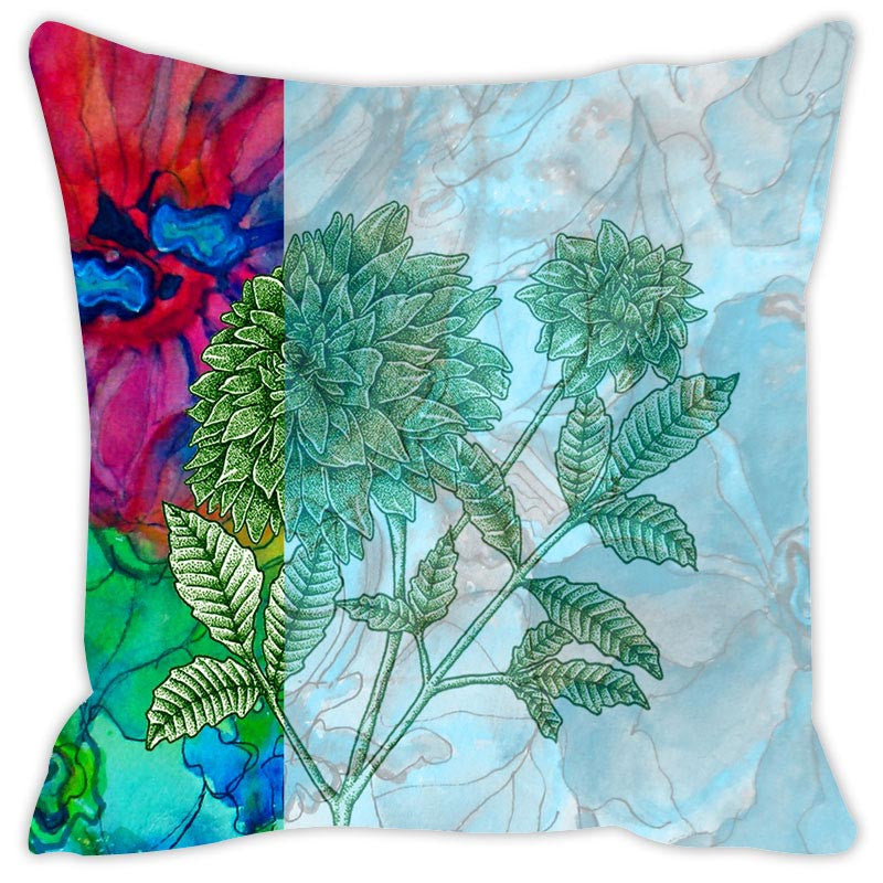 Leaf Designs Blue & Green Cushion Cover Set Of 2