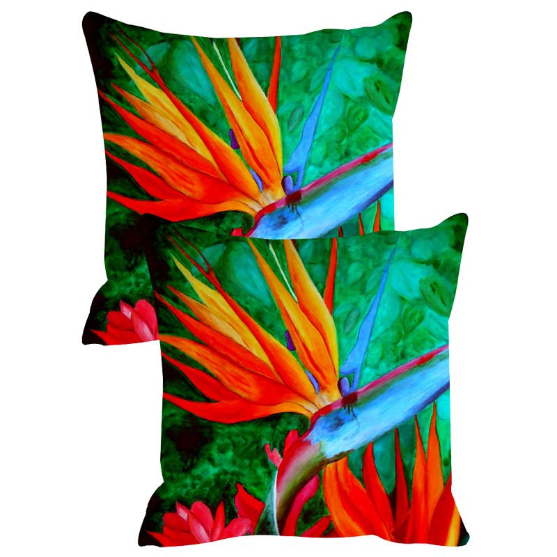 Leaf Designs Red & Blue Cushion Cover Set Of 2