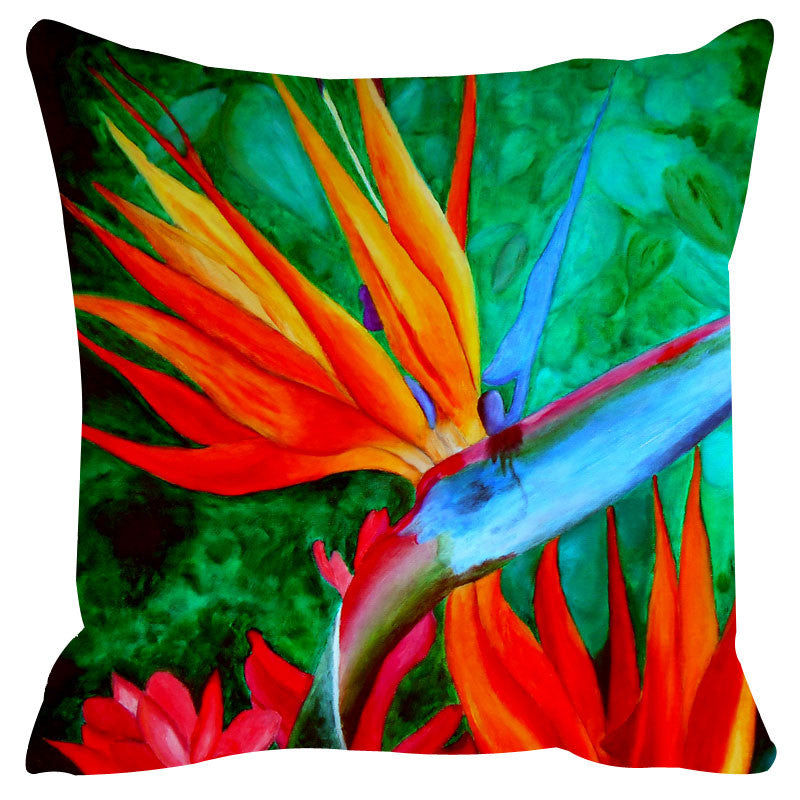 Leaf Designs Red & Yellow Cushion Cover