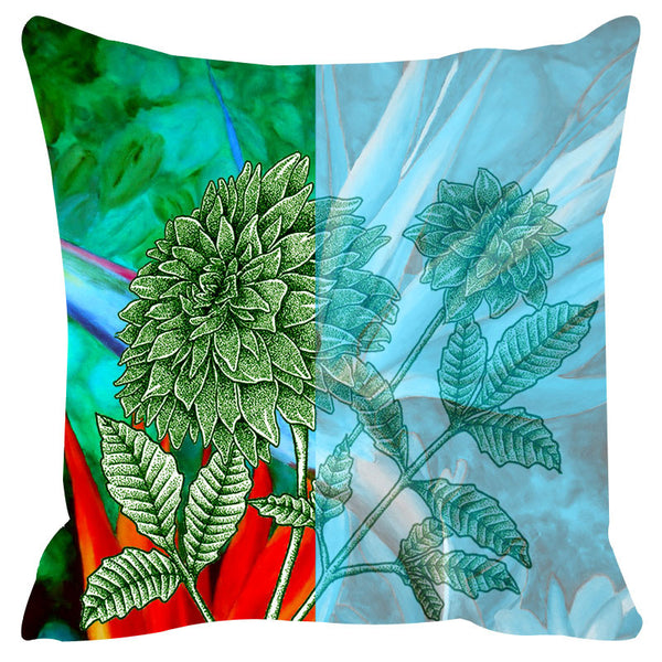 Leaf Designs Green & Blue Cushion Cover