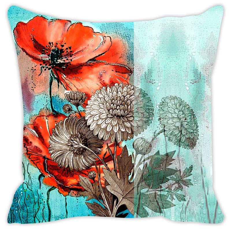 Leaf Designs Orange & Light Blue Cushion Cover Set Of 2
