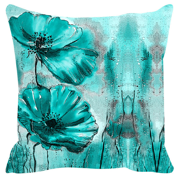 Leaf Designs Teal Cushion Cover