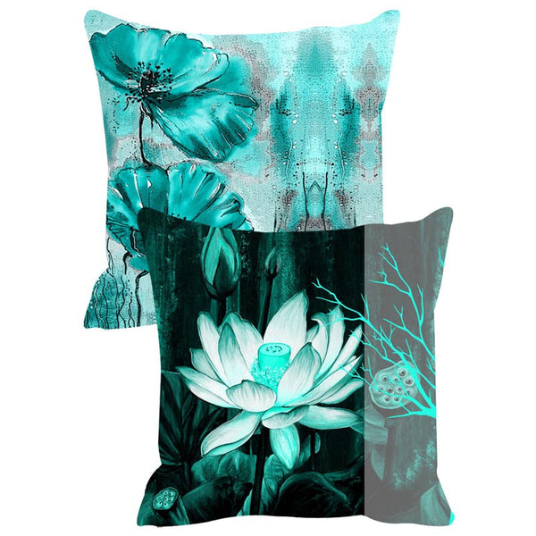 Leaf Designs Teal & Black Cushion Cover Set Of 2