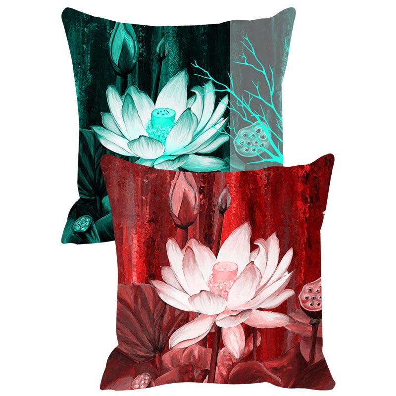 Leaf Designs Red & Teal Cushion Cover Set Of 2