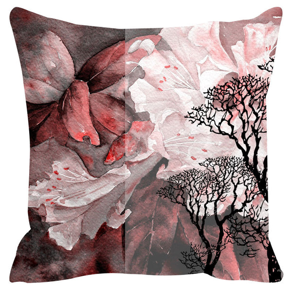 Leaf Designs Pink & White Cushion Cover