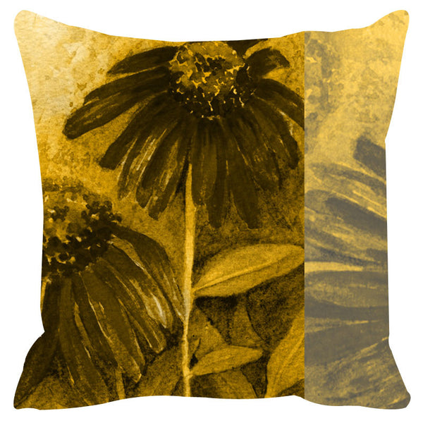 Leaf Designs Yellow & Grey Cushion Cover