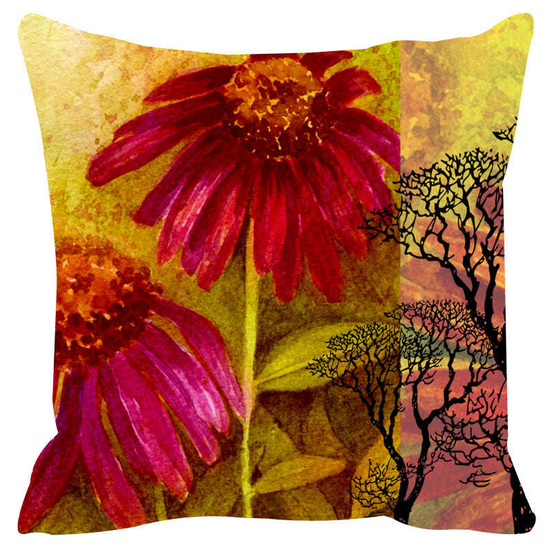 Leaf Designs Yellow & Pink Cushion Cover