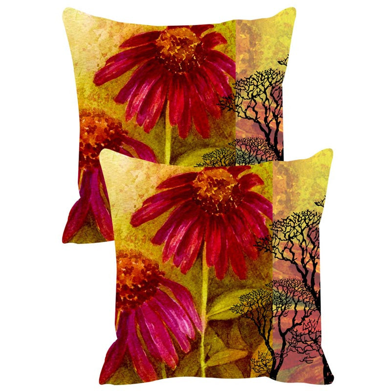 Leaf Designs Yellow & Pink Cushion Cover Set Of 2