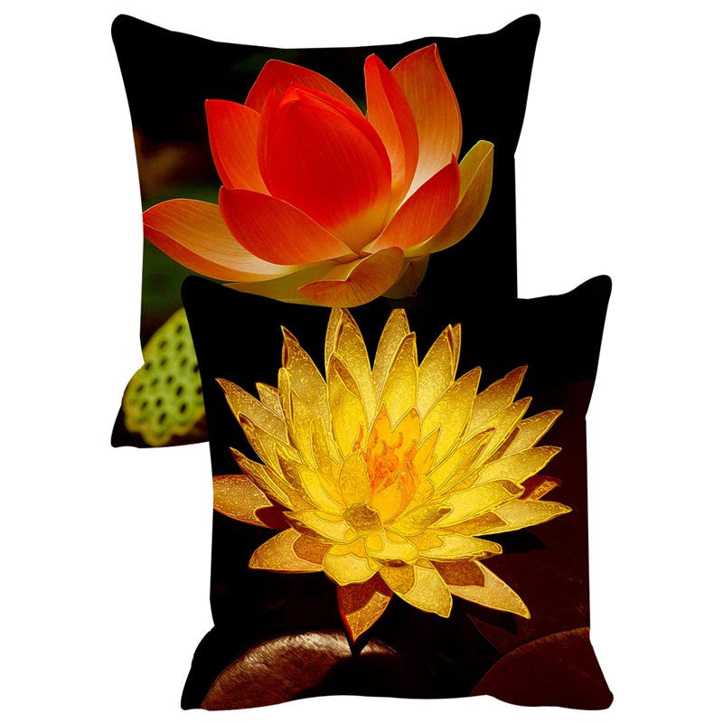 Leaf Designs Yellow & Red Cushion Cover Set Of 2