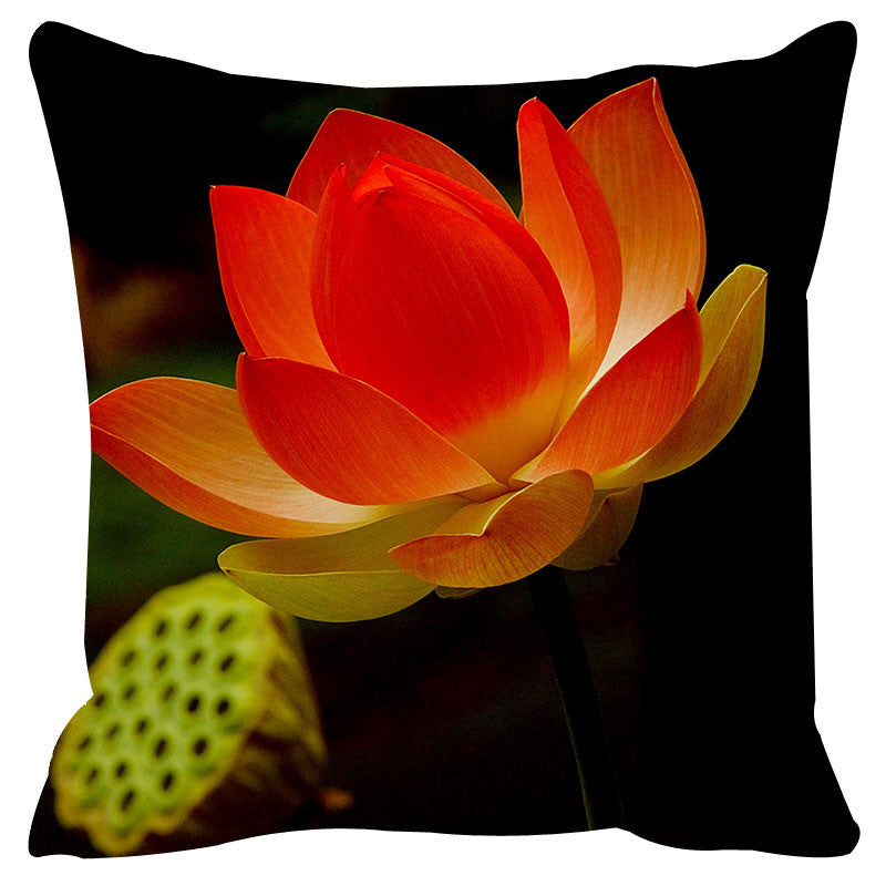 Leaf Designs Black & Red Cushion Cover