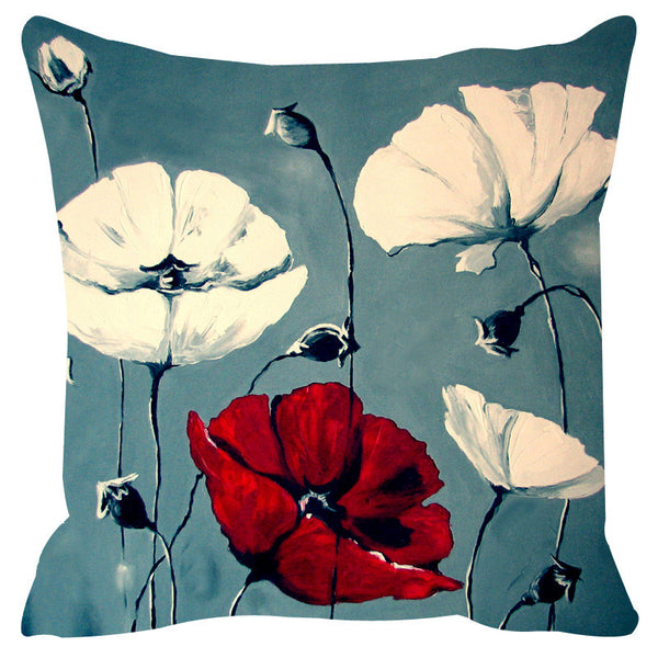 Leaf Designs Blue & White Cushion Cover