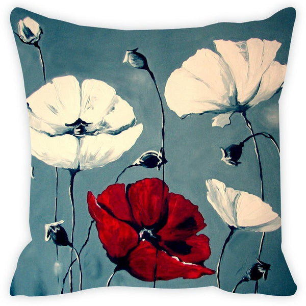 Leaf Designs Blue & White Cushion Cover Set Of 2