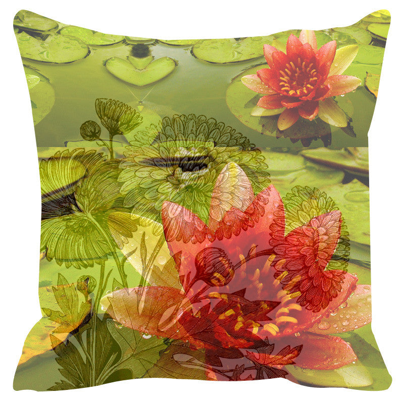 Leaf Designs Green & Red Cushion Cover