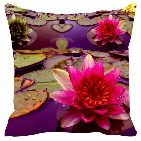 Leaf Designs Purple & Pink Cushion Cover