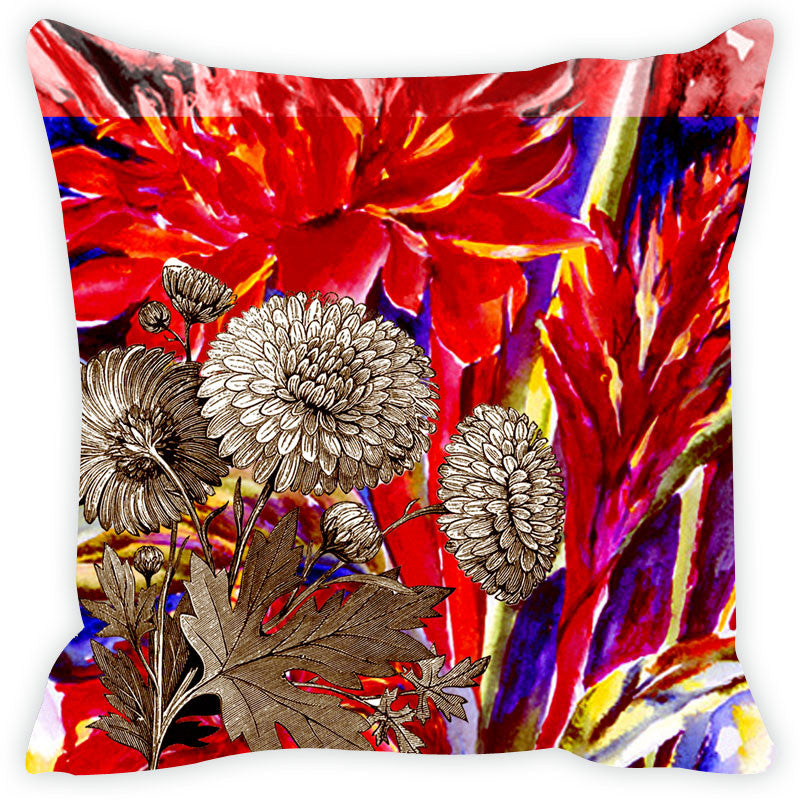 Leaf Designs Red & Purple Cushion Cover