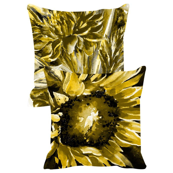 Leaf Designs Yellow Cushion Cover Set Of 2