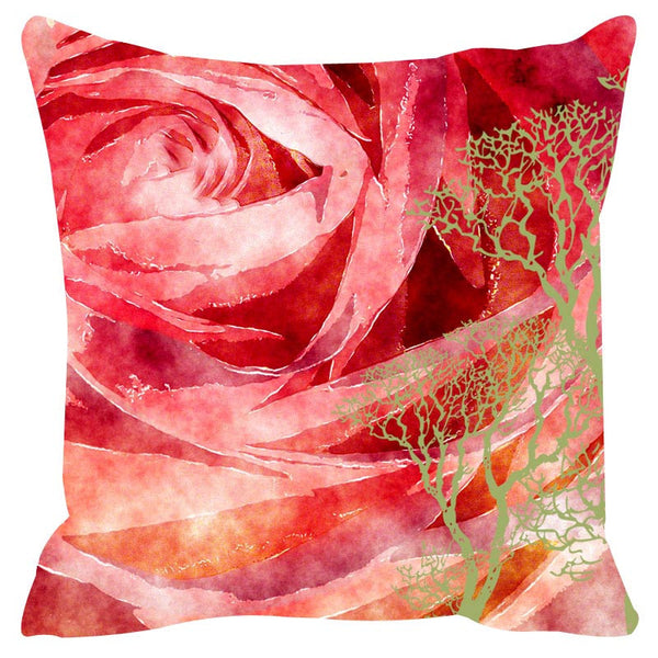 Leaf Designs Red Cushion Cover Set Of 2