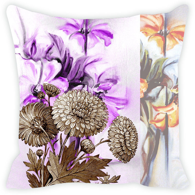 Leaf Designs Purple & Yellow Cushion Cover