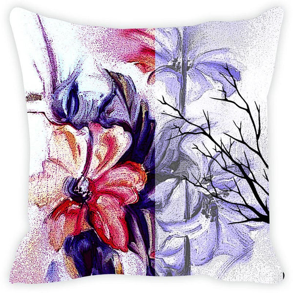 Leaf Designs Purple & Red Cushion Cover Set Of 2