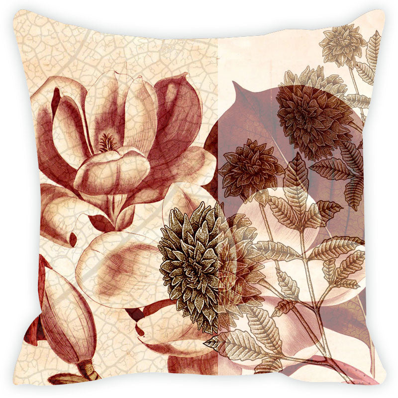 Leaf Designs Brown & Beige Cushion Cover