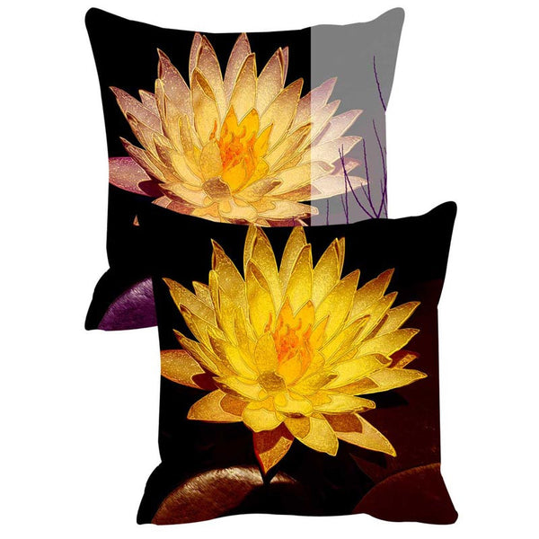 Leaf Designs Yellow & Black Tree Cushion Cover Set Of 2