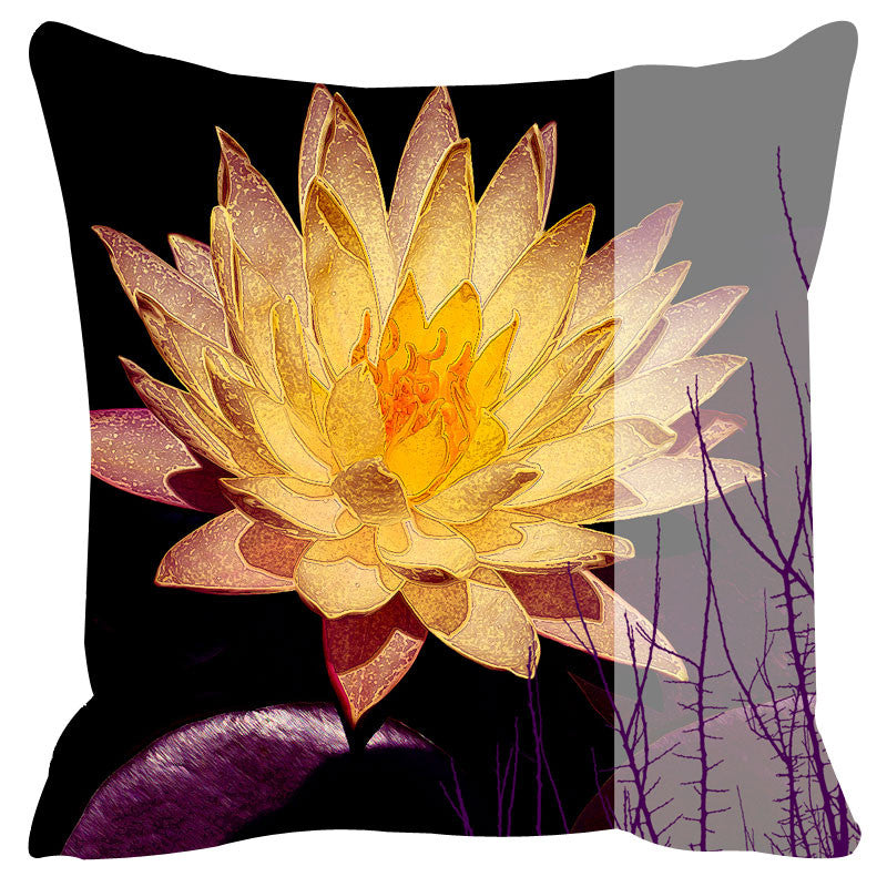 Leaf Designs Yellow & Black Tree Cushion Cover