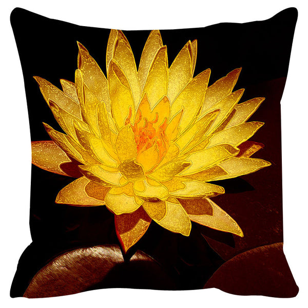 Leaf Designs Yellow & Black Cushion Cover